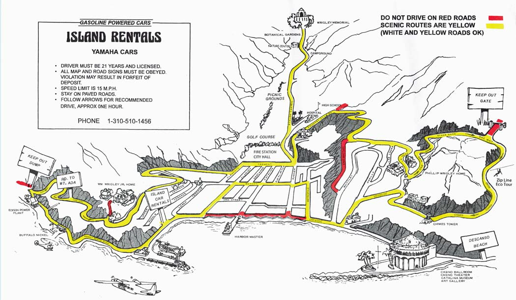 Map for Catalina island golf cart rentals from Island Rentals in